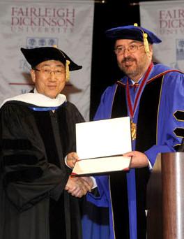 FDU president Adams awards U.N. Secretary General H.E. Ban Ki-moon a honorary doctorate