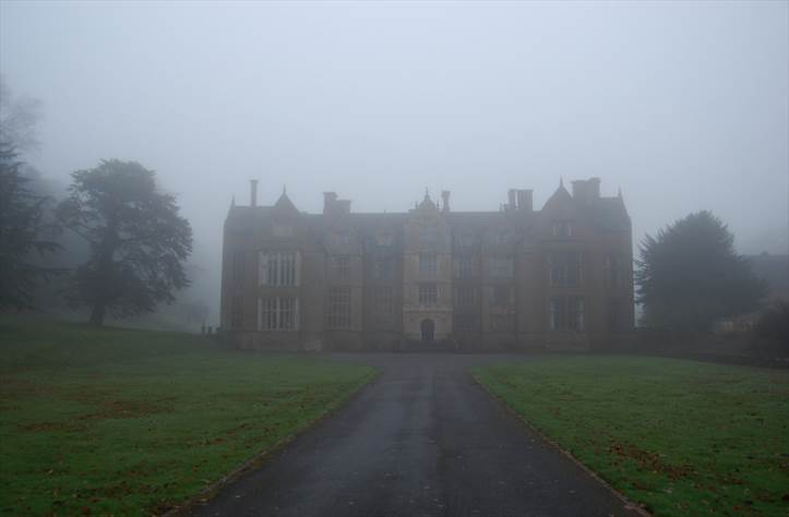 Abbey in mist