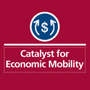 """Image: Text reading """"Catalyst for Economic Mobility"""" with dollar-sign graphic"""